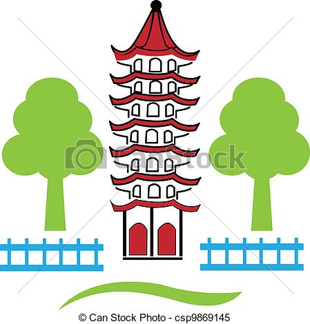 China Town clipart chinese pagoda Vector illustration skyline Clipart Vector