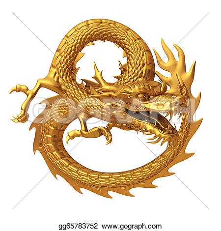 Chinese Dragon clipart chinese astrology Stock 3d  golden golden
