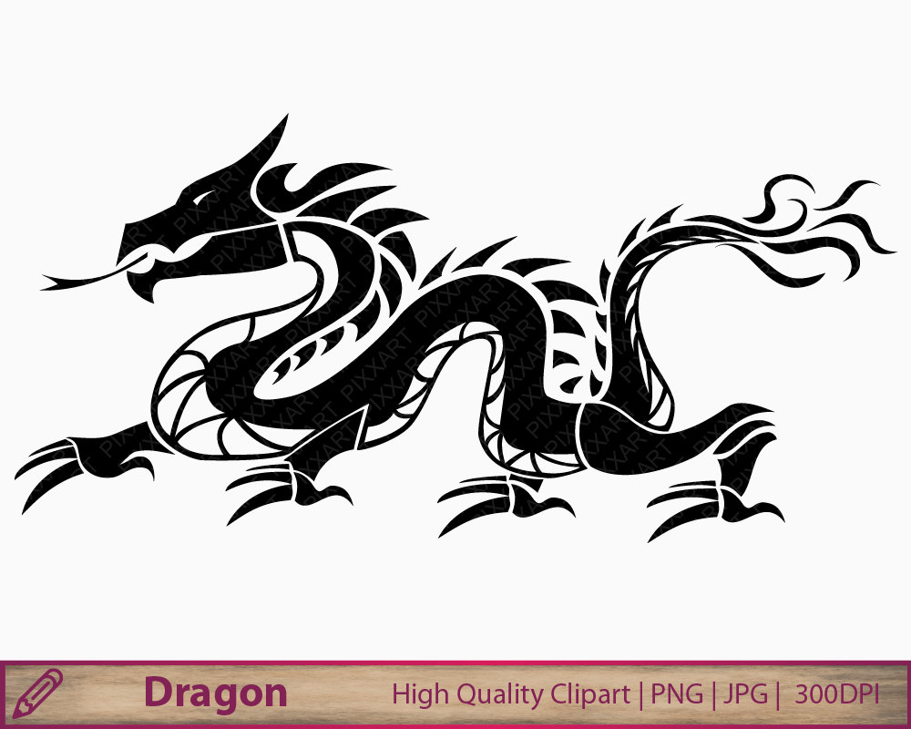 Chinese Dragon clipart easy Dragon tattoo clipart clip scrapbooking