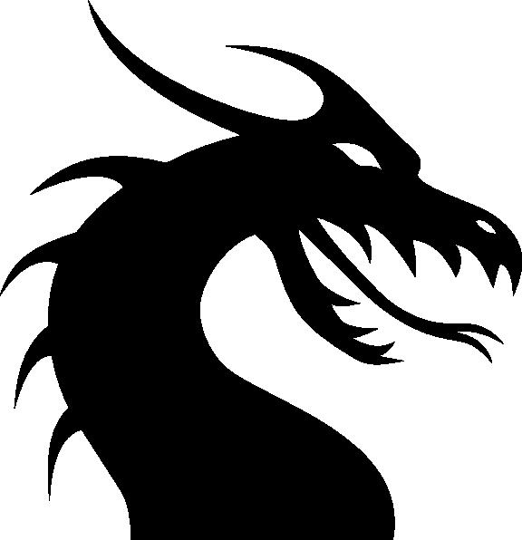 Blue Dragon clipart simple Head Outline com Dragon Silhouette