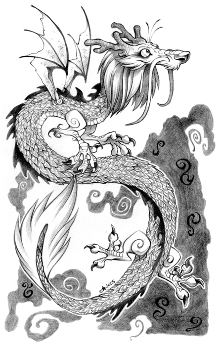 Drawn chinese dragon wing #1