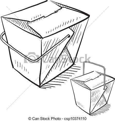 Chinese Food clipart box drawing Food style Clip  Vector