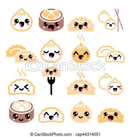 Dumpling clipart chinese dumpling Clipart Vector Asian Kawaii Chinese
