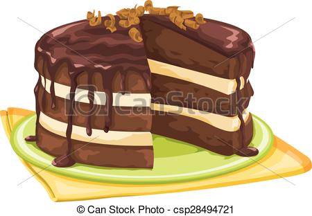 Drawn cake pastry Slice with of slice Vector