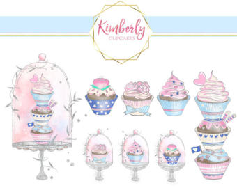 Drawn cupcake silhouette Pink watercolor clipart cupcake Drawn