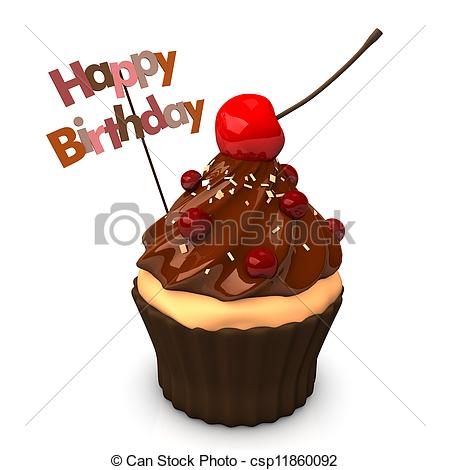 Drawn cupcake silhouette Stock Happy Cake Birthday Birthday