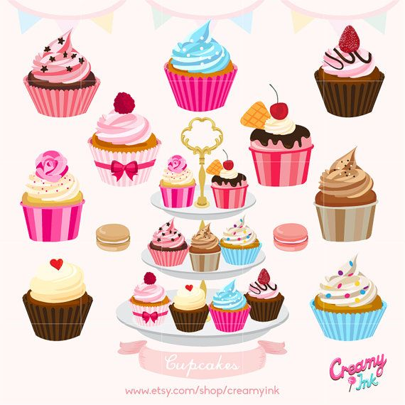 Chocolate clipart strawberry cupcake  Fruit Digital Vector on