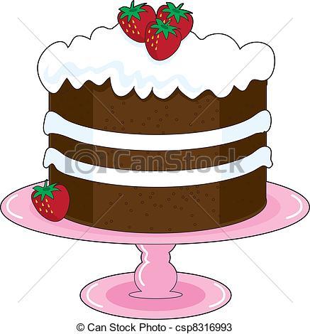 Drawn dessert strawberry cake #8