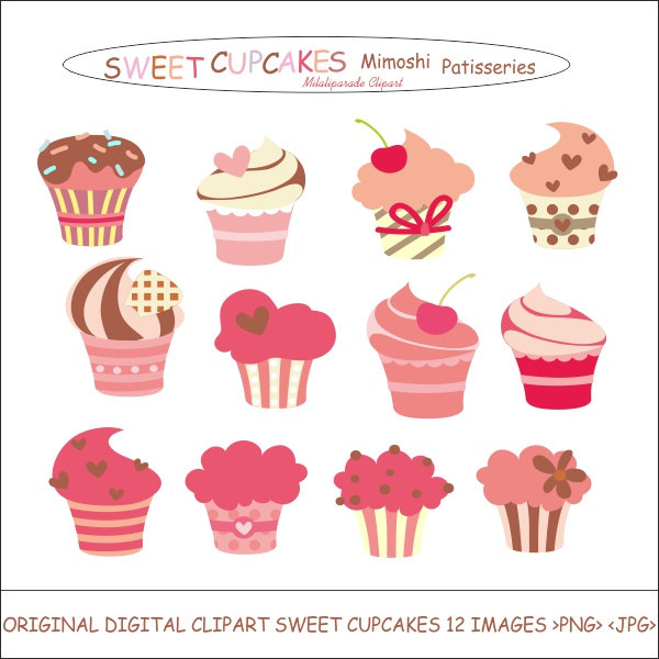 Brownie clipart vanilla cupcake 2 Strawberry Cupcakes Clipart Sweet