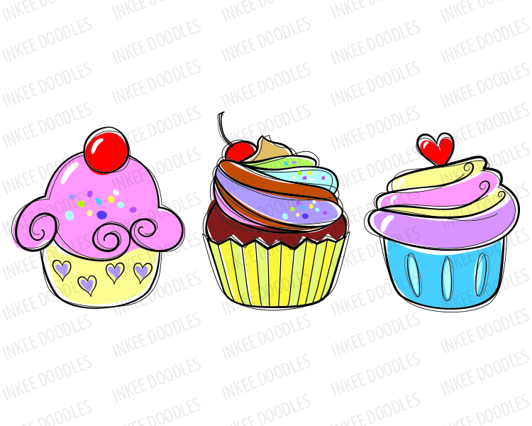 Drawn cupcake silhouette Sweet digital cream food hand