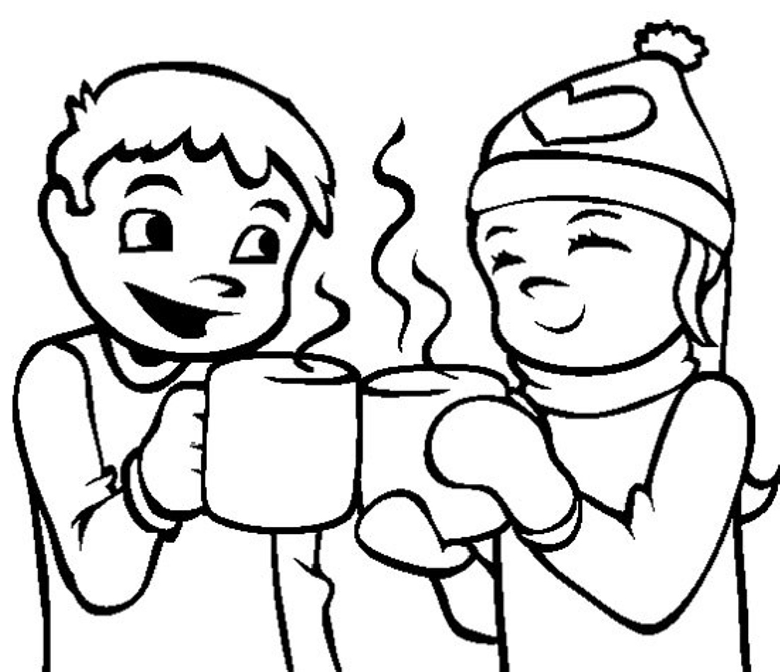 Winter clipart hot cocoa Coloring Download Drinking coloring hot