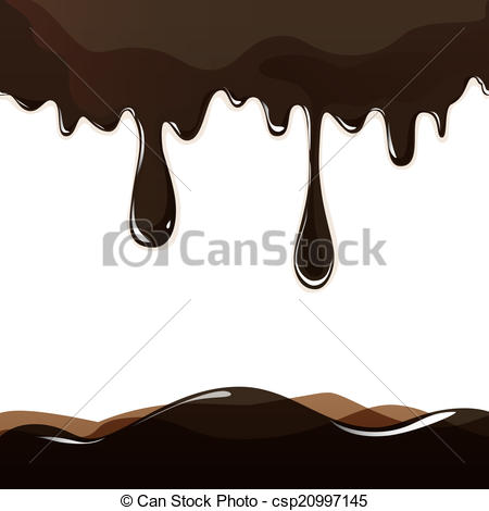 Chocolate clipart round object Dripping of on background EPS