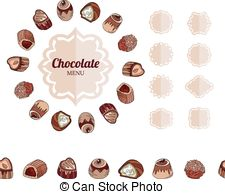 Chocolate clipart round object Candies of white Round Vectors