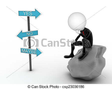 3D clipart choice No thinking Illustration yes Stock