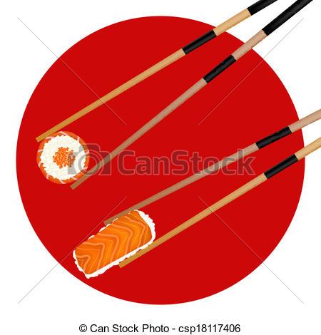 Sushi clipart japanese chopstick Japanese Vector flag shrimp caviar