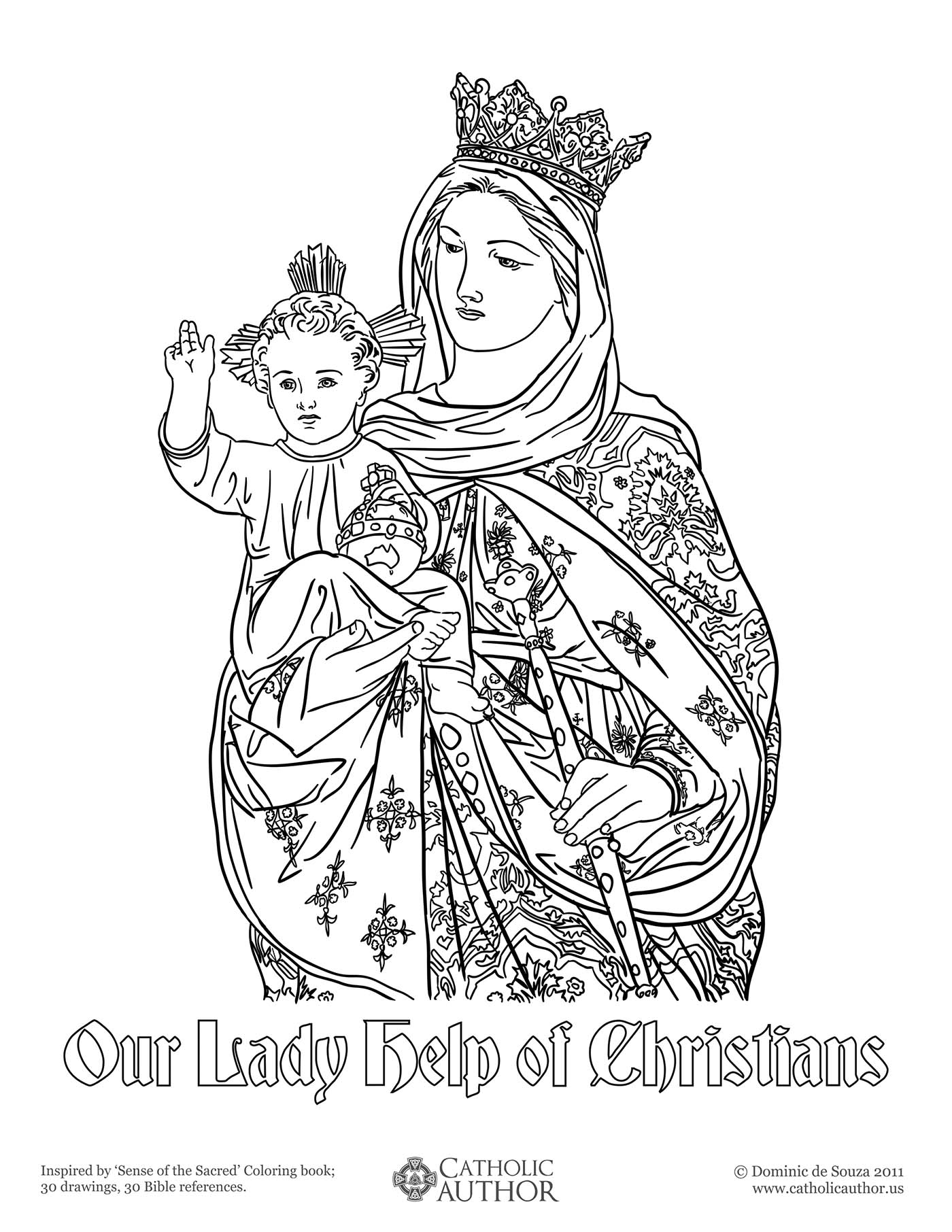 Drawn finger Coloring Our Lady of Drawn