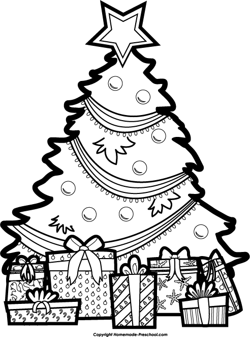 Christmas Tree clipart black and white Black Tree com And Top