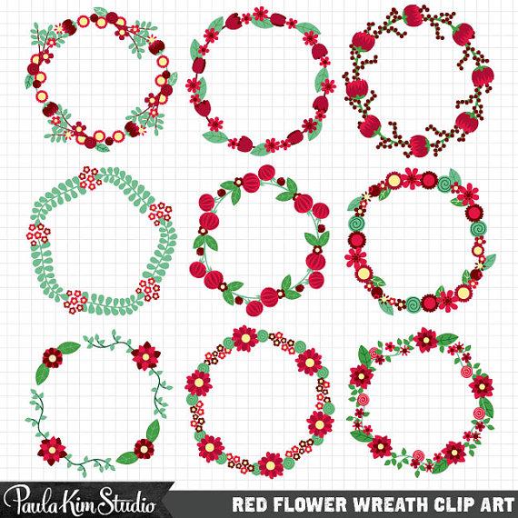 Red Flower clipart wreath #2