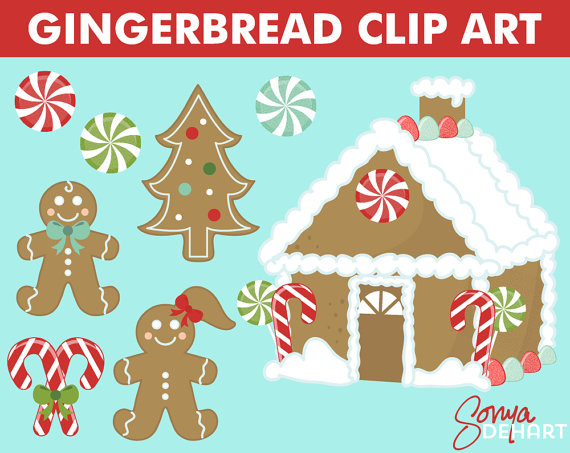 Gingerbread clipart party house Christmas Il_570xn  80% OFF