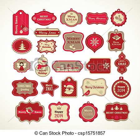 Merry Christmas clipart label  Clipart and decorative of
