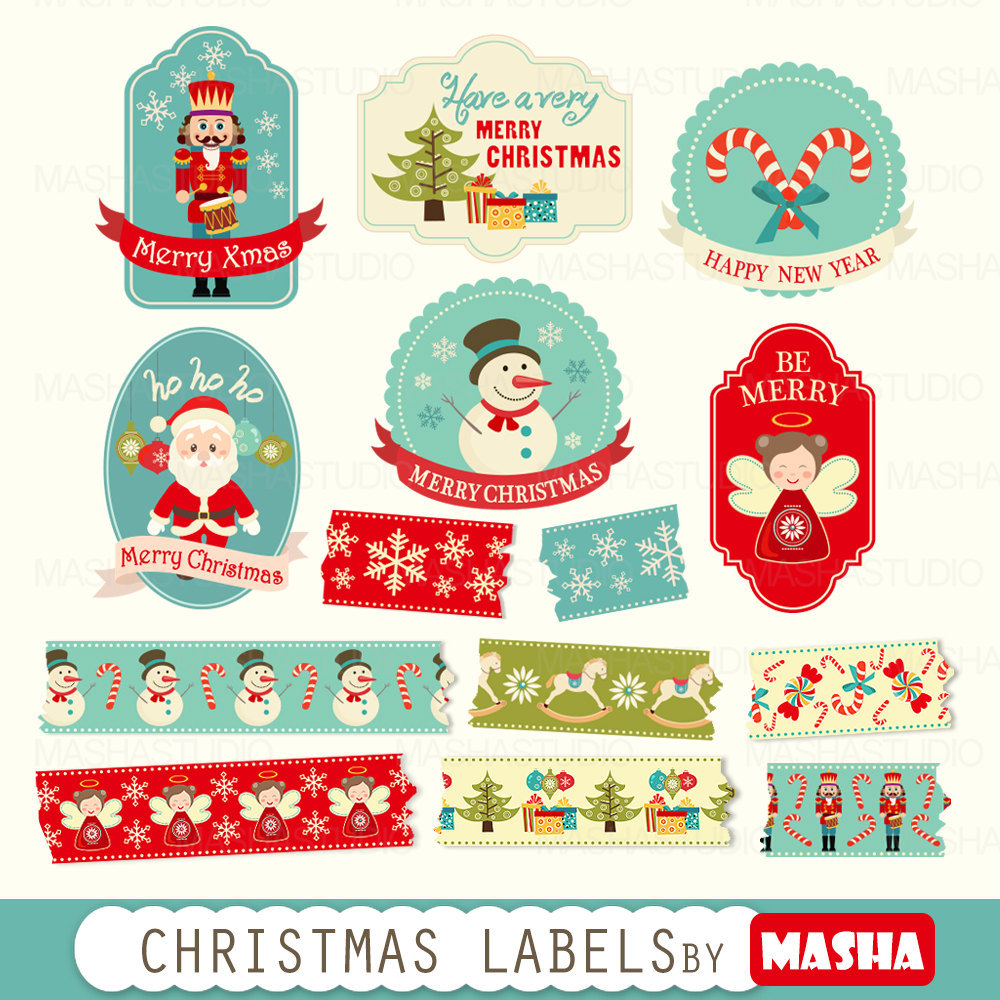 "Merry Christmas clipart label  LABELS"" washi with labels"