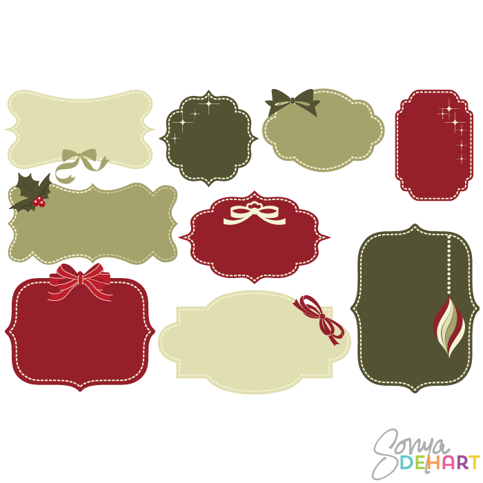 Merry Christmas clipart label Frames Clip Christmas Label Art