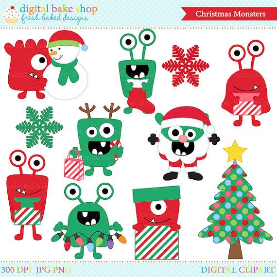 Monster clipart christmas On monsters from Etsy art