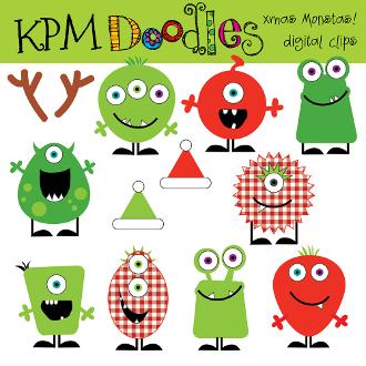 Monster clipart christmas Digital Clip  Art Christmas