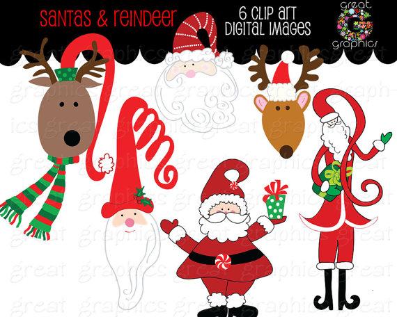 Holydays clipart raindeer Clipart Christmas Santa Printable Reindeer
