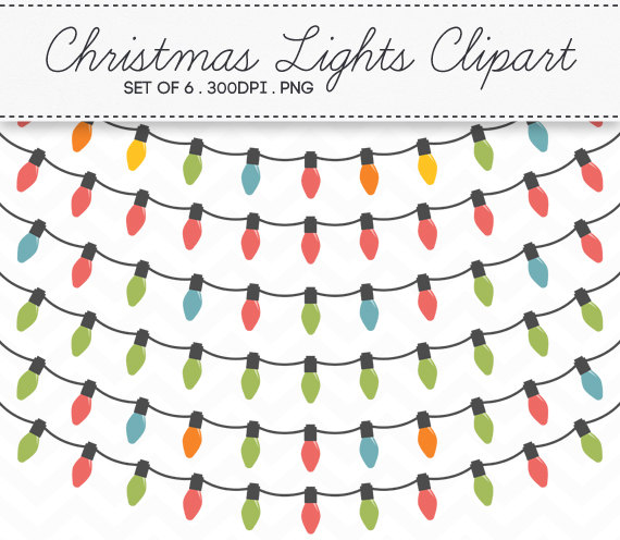 Christmas clipart string light  / / 6 Etsy