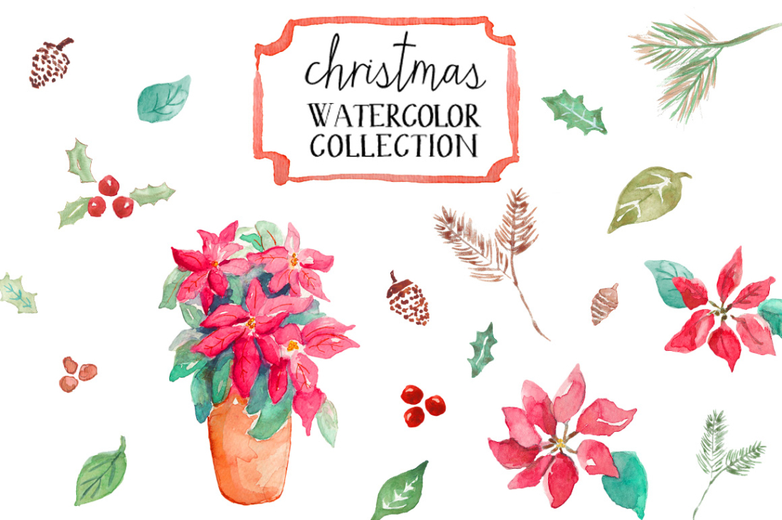 Christmas clipart watercolor Watercolor com Christmas watercolor angiemakes