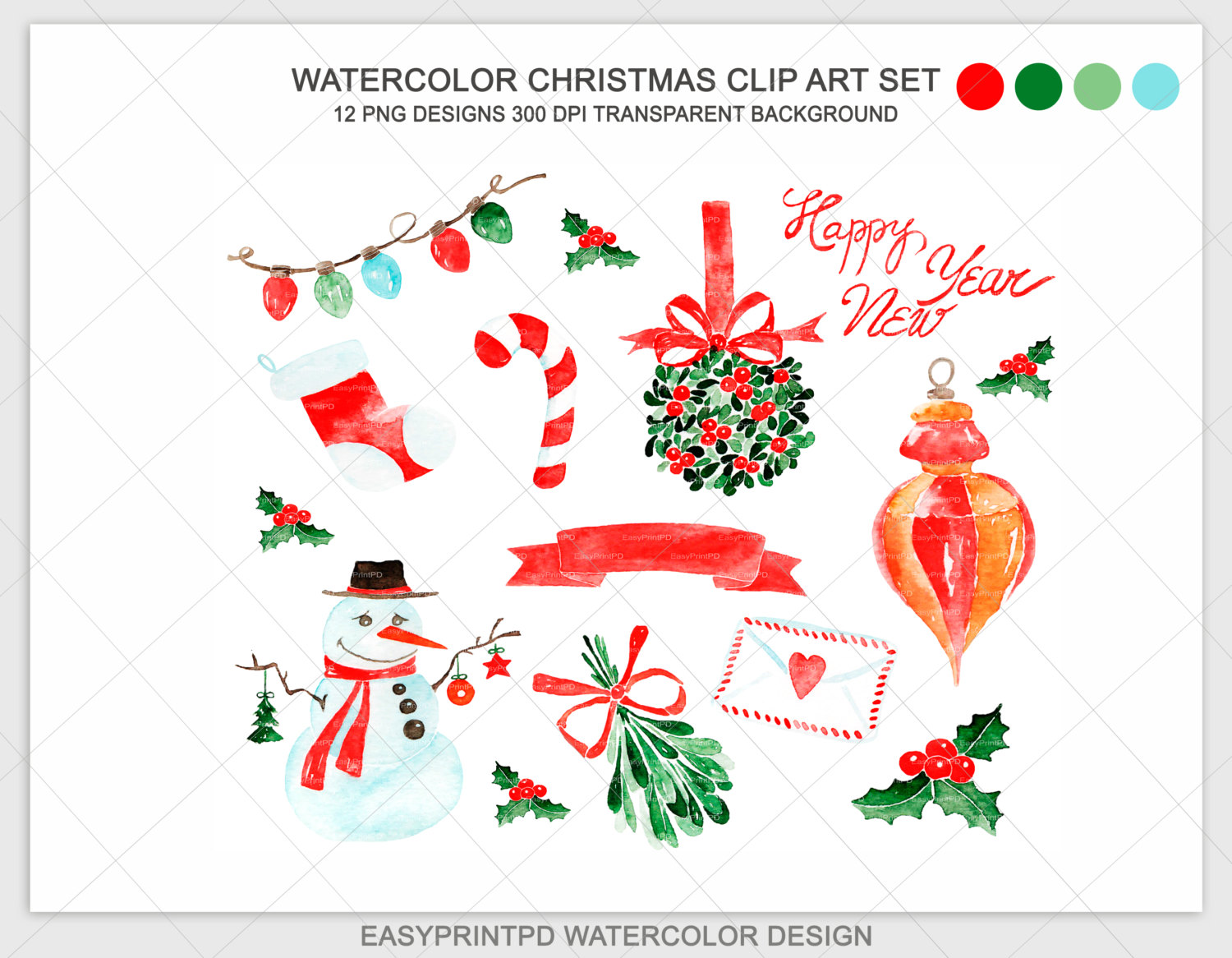 Christmas clipart watercolor Noel Clipart Hand Xmas this