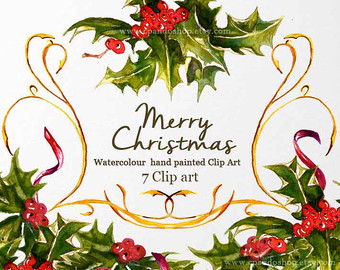 Christmas clipart watercolor Holly winter download clipart Christmas