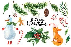Christmas clipart watercolor Illustrations Watercolor Market ~ Christmas