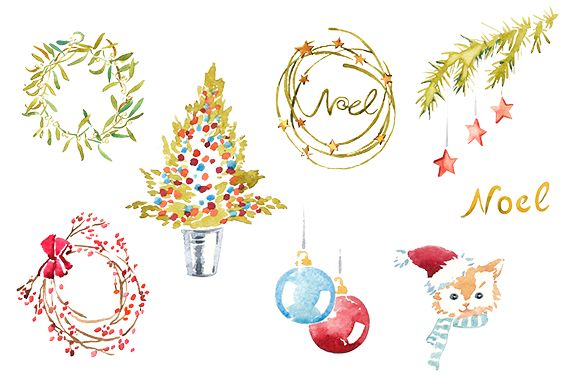 Christmas clipart watercolor Clipart Market Christmas on set