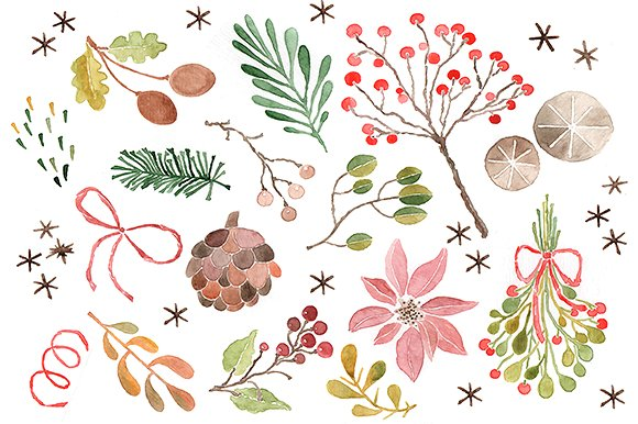 Christmas clipart watercolor Clip Christmas Illustrations Watercolor Watercolor