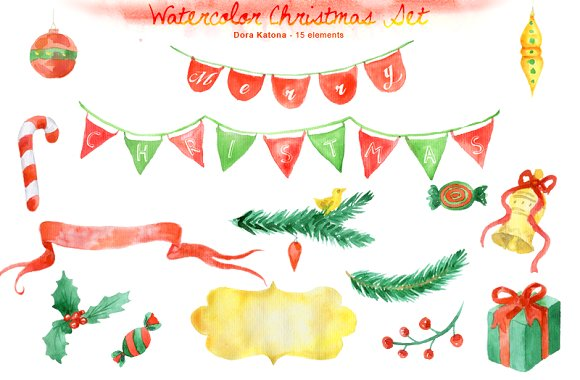 Christmas clipart watercolor Clipart Watercolor Illustrations Christmas Christmas