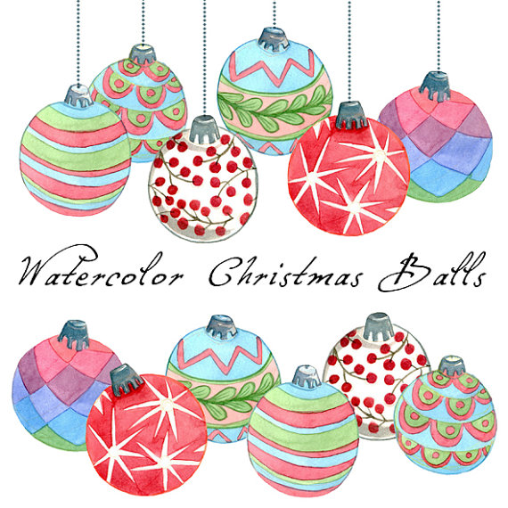 Christmas clipart watercolor $7 Christmas by Clipart SwiejkoForPrint