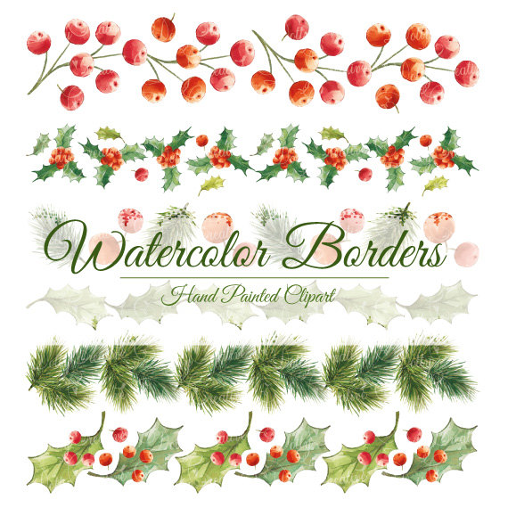 Christmas clipart watercolor  painted watercolor borders christmas