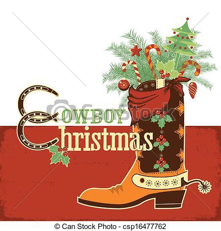 Cowboy clipart christmas cowboy Boot  boot Clip Cowboy
