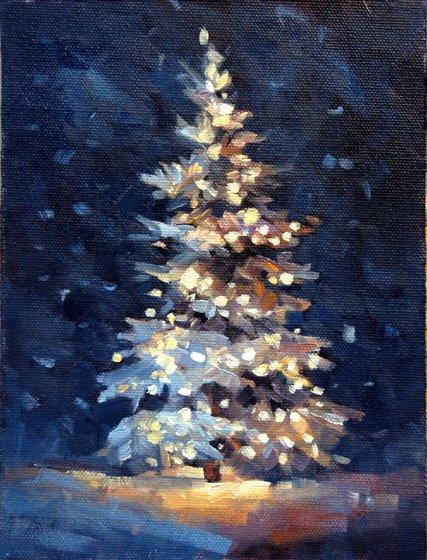 Christmas Lights clipart painting Art beautiful  Christmas Tree