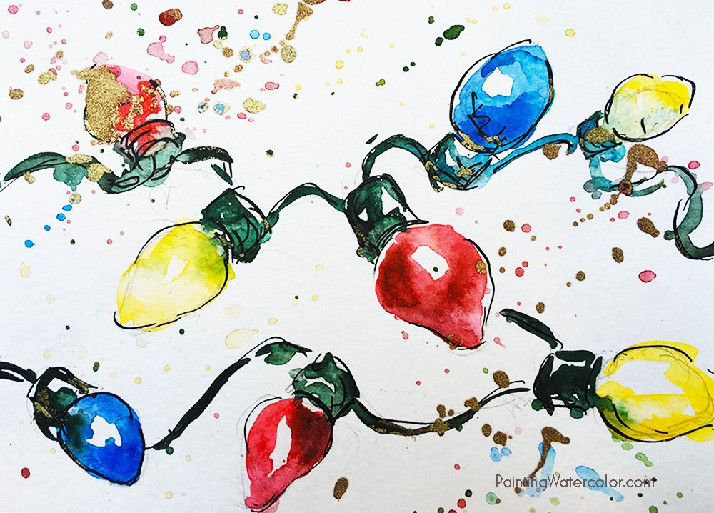 Christmas Lights clipart painting Christmas Cards of Days Retro