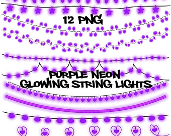 Christmas Lights clipart purple Clip lights strings SALE art