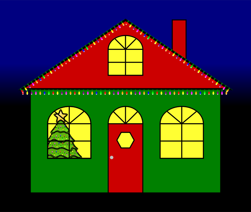 Christmas Lights clipart red and blue With Christmas House (PNG) MEDIUM