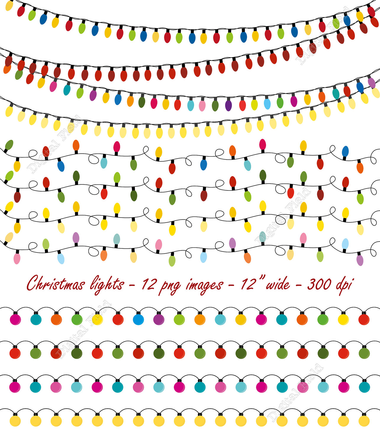 Christmas Lights clipart vintage Collection garland clipart Lights light