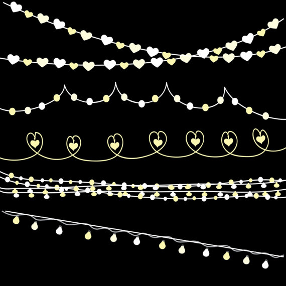 Yellow clipart string light SALE digital string This lights