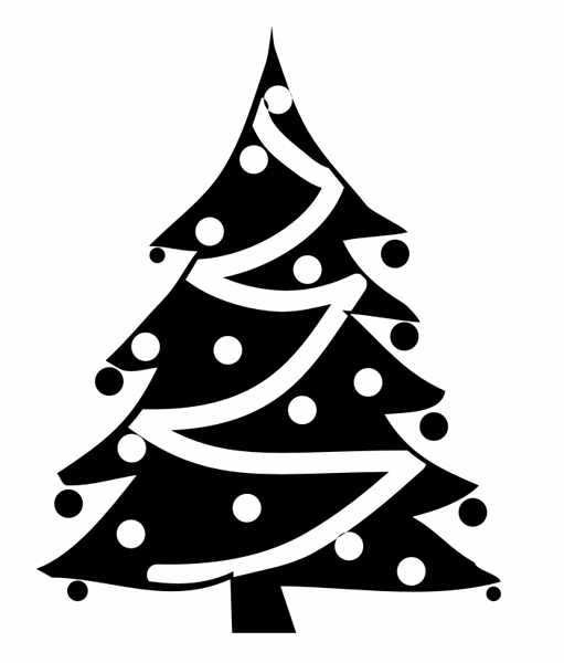 Christmas Tree clipart black and white #14632 Black Clipartion Christmas Clipart