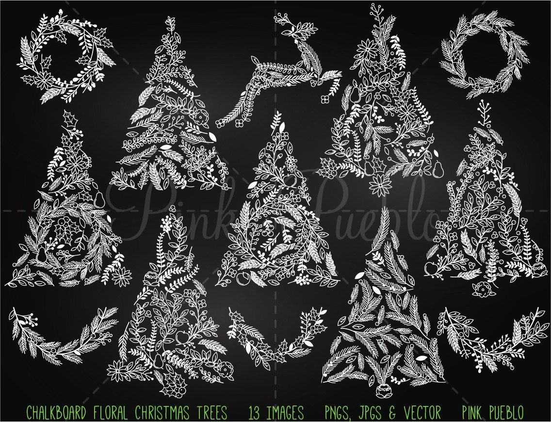 Christmas Tree clipart chalkboard Tree Christmas and Clipart Chalkboard