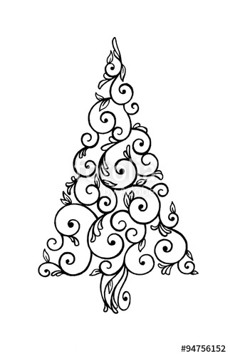 Drawn decoration paisley Symbol swirls and decoration Christmas