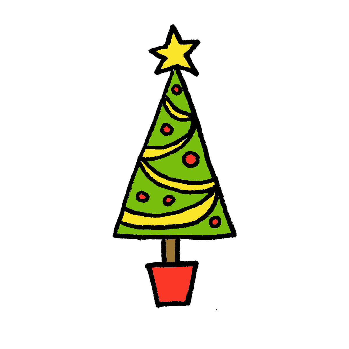 Christmas Tree clipart easy To 4 Tree: Colored in